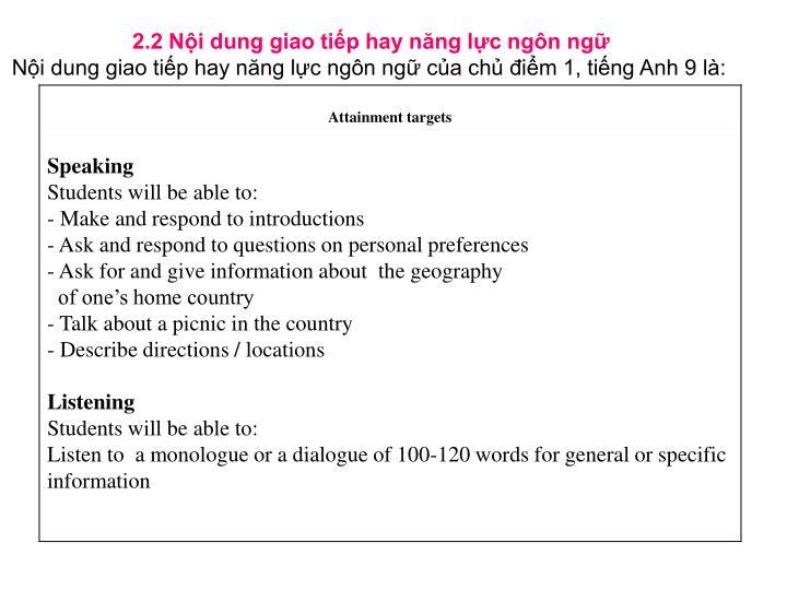 2.2 Nội dung giao tiếp hay năng lực ngôn ngữ