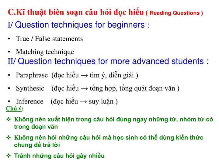 Kĩ thuật biên soạn câu hỏi đọc hiểu