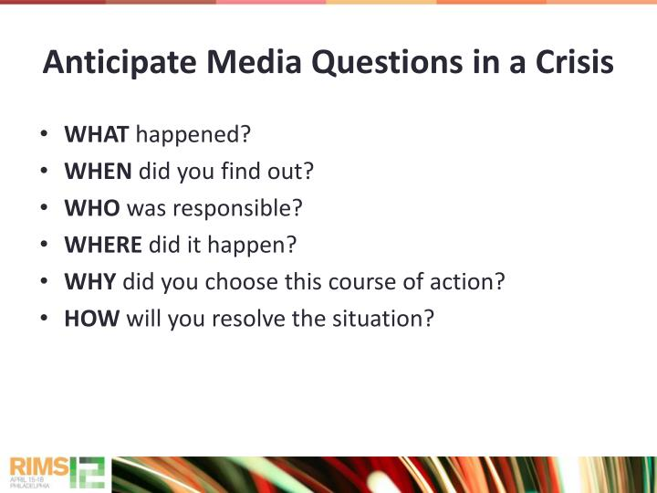 Anticipate Media Questions in a Crisis
