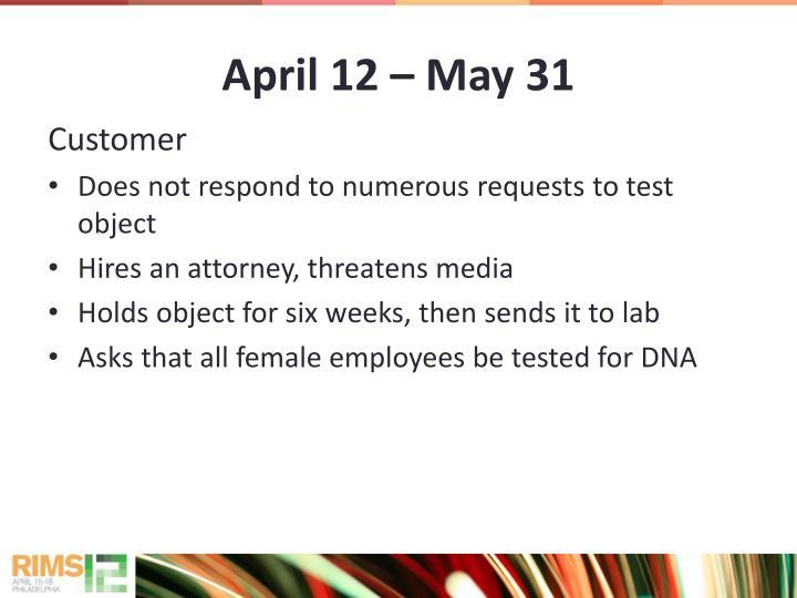 April 12  May 31
