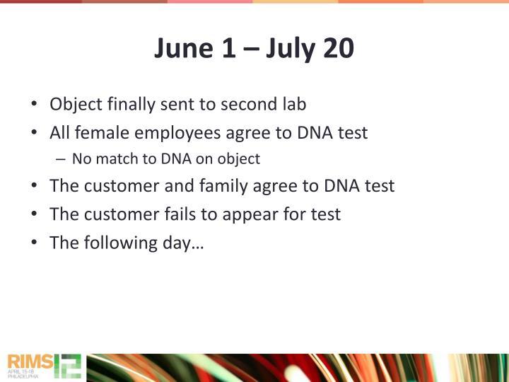 June 1  July 20
