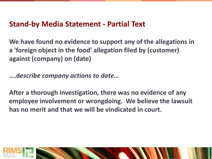 Stand-by Media Statement - Partial Text