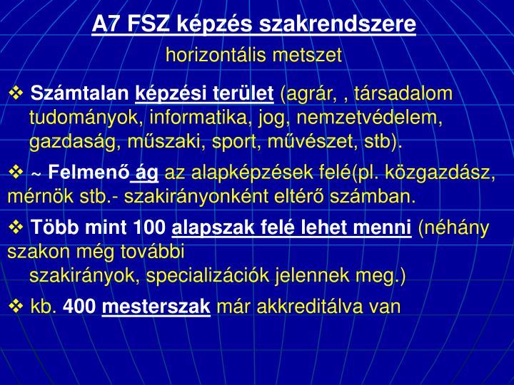 A7 FSZ képzés szakrendszere