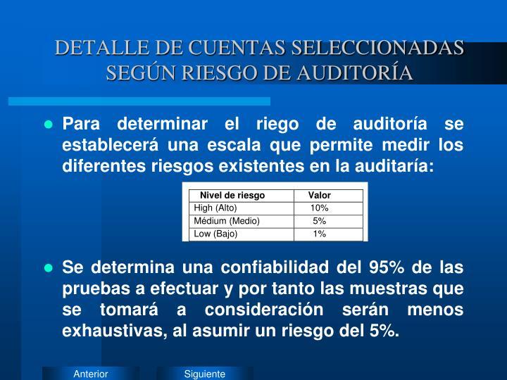 DETALLE DE CUENTAS SELECCIONADAS SEGÚN RIESGO DE AUDITORÍA