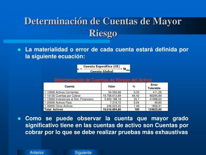 Determinación de Cuentas de Mayor Riesgo