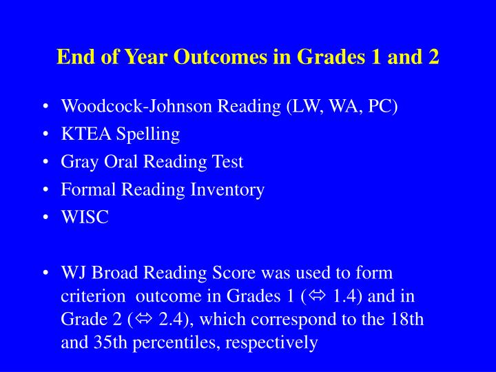End of Year Outcomes in Grades 1 and 2