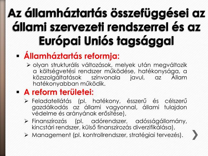 Államháztartás reformja: