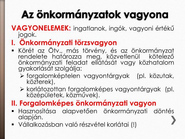 VAGYONELEMEK: