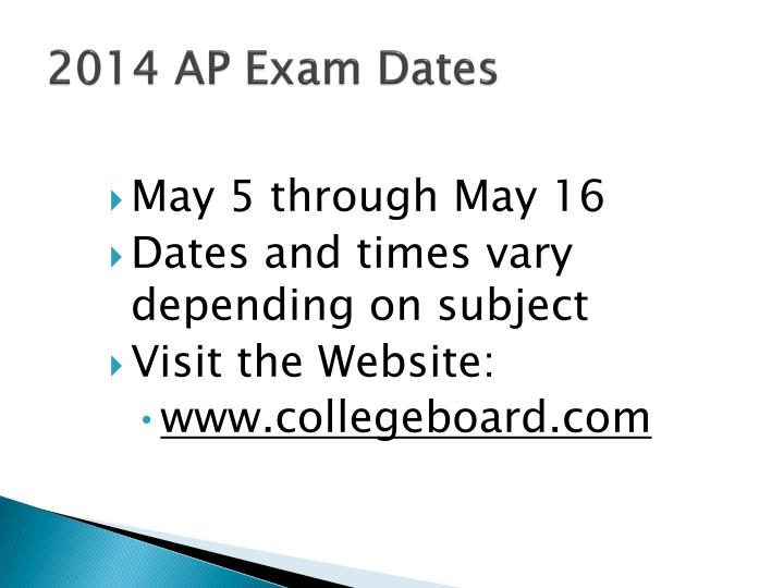 2014 AP Exam Dates