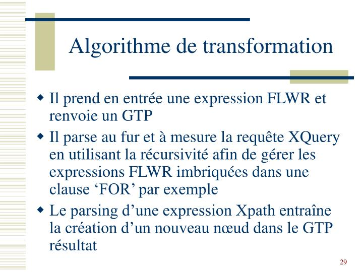 Algorithme de transformation
