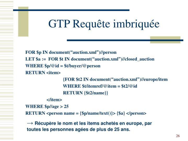 GTP Requête imbriquée