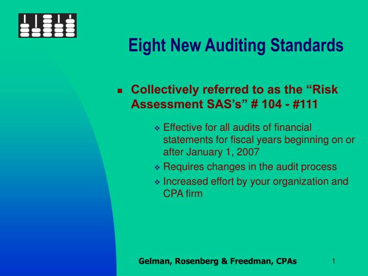 Eight New Auditing Standards