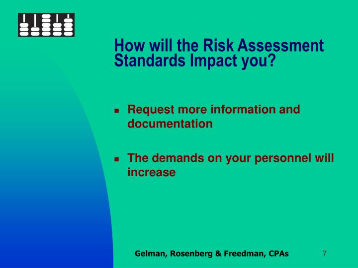 How will the Risk Assessment Standards Impact you?