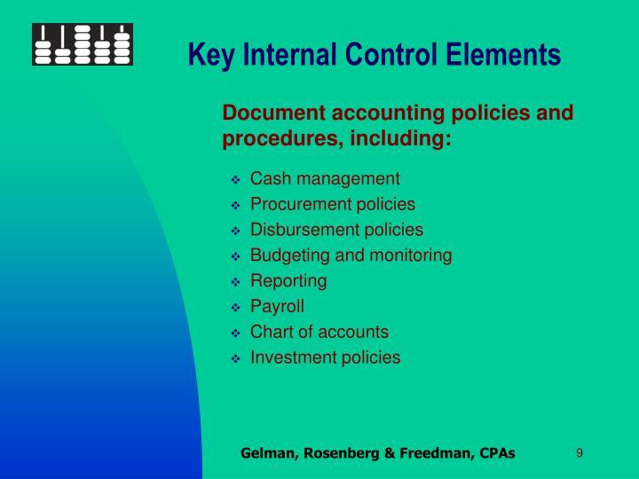 Key Internal Control Elements