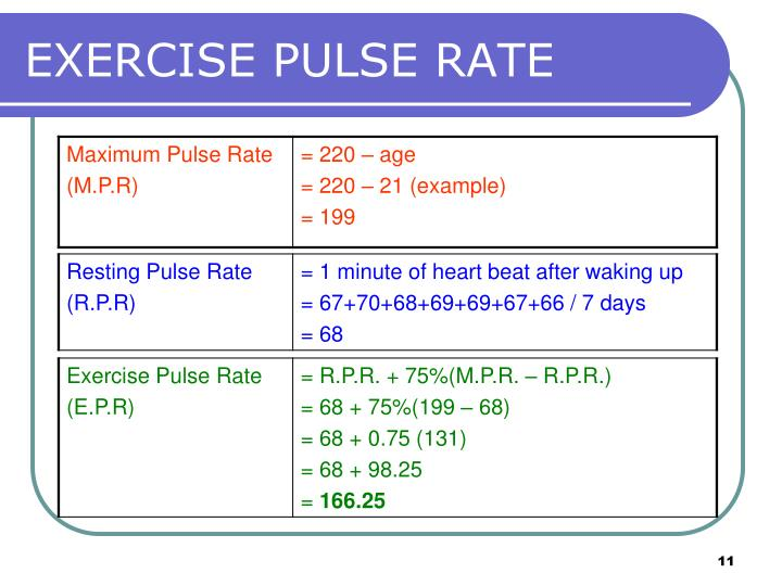 EXERCISE PULSE RATE