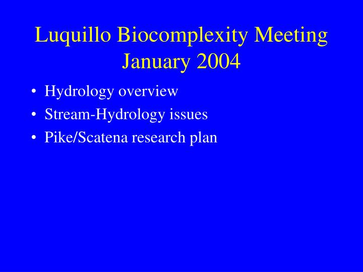 Luquillo biocomplexity meeting january 2004