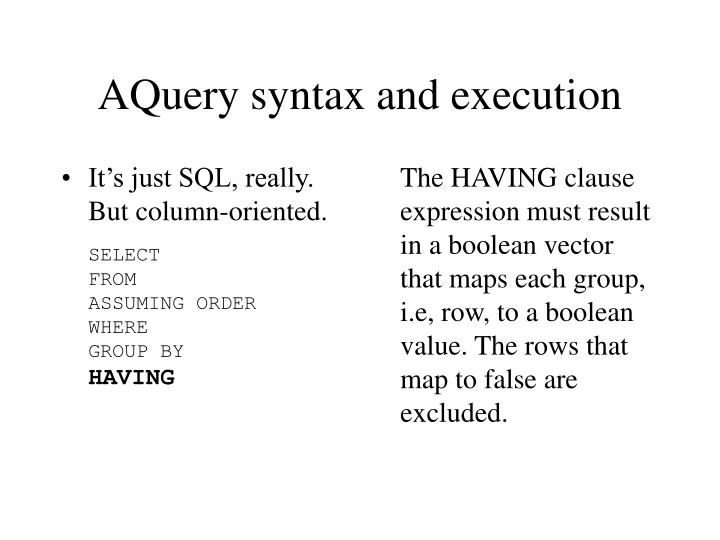 It's just SQL, really. But column-oriented.