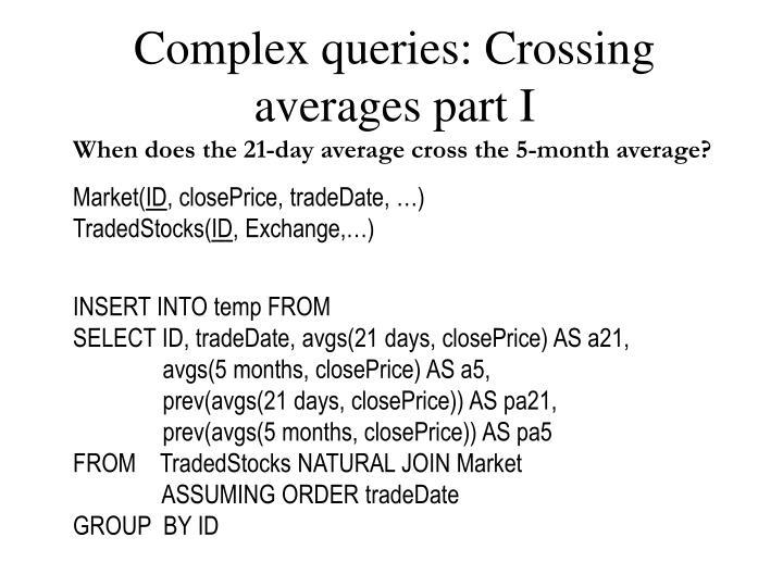 Complex queries: Crossing averages part I