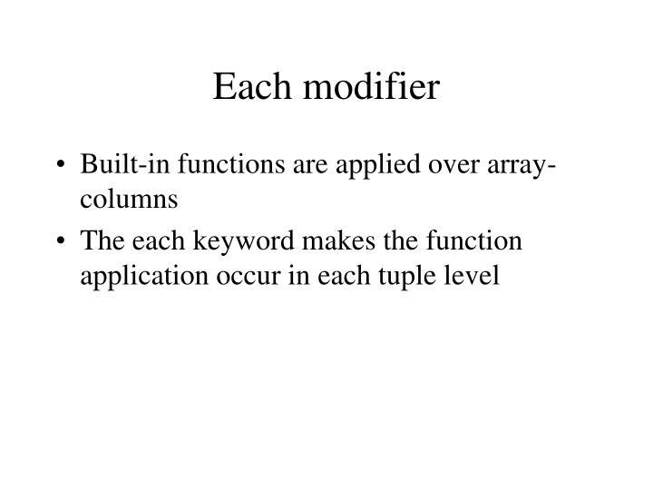 Each modifier