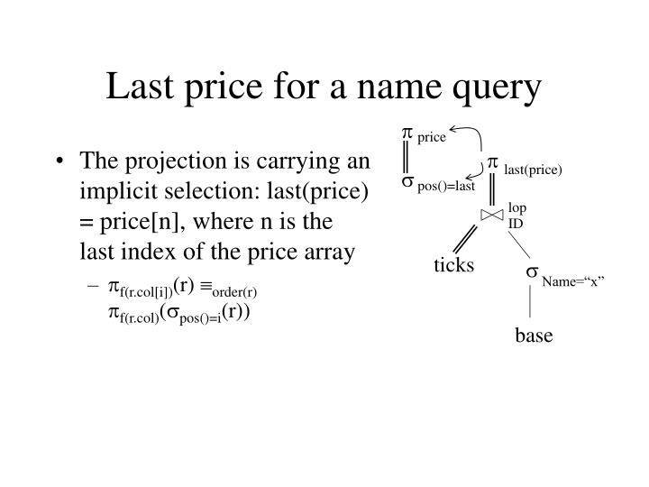 The projection is carrying an implicit selection: last(price) = price[n], where n is the last index of the price array