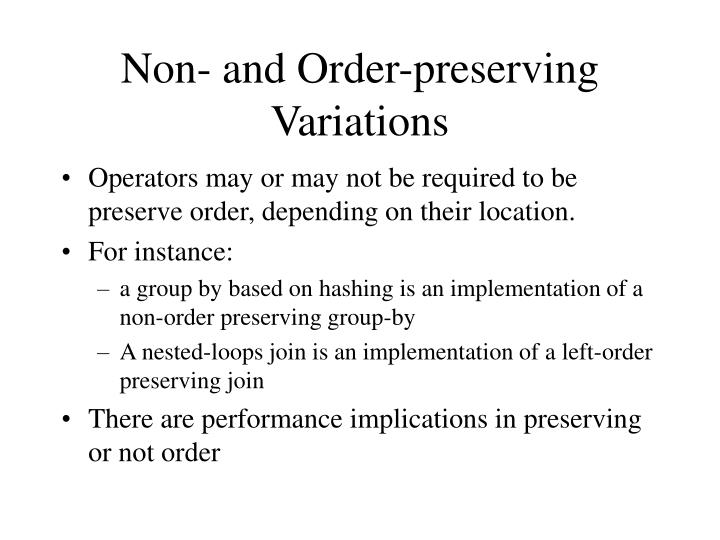 Non- and Order-preserving Variations