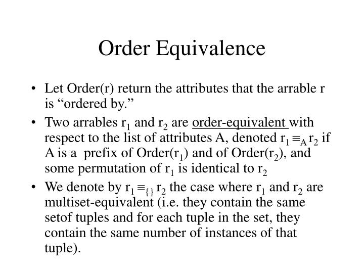 Order Equivalence