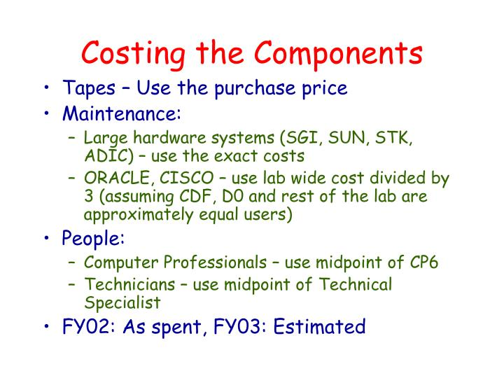 Costing the Components