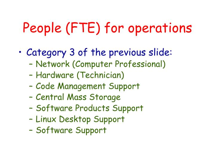 People (FTE) for operations