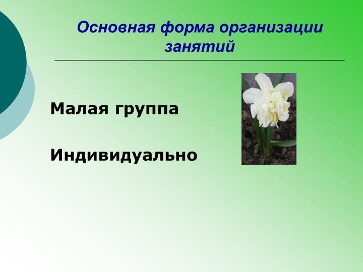 Основная форма организации занятий