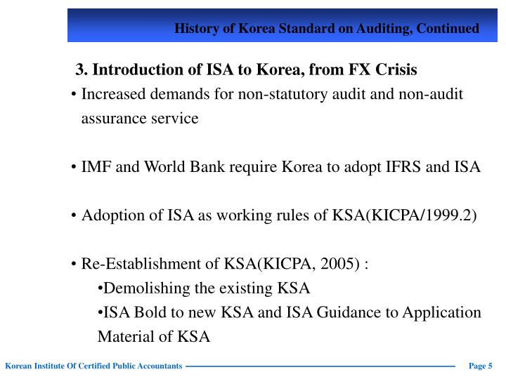 History of Korea Standard on Auditing, Continued