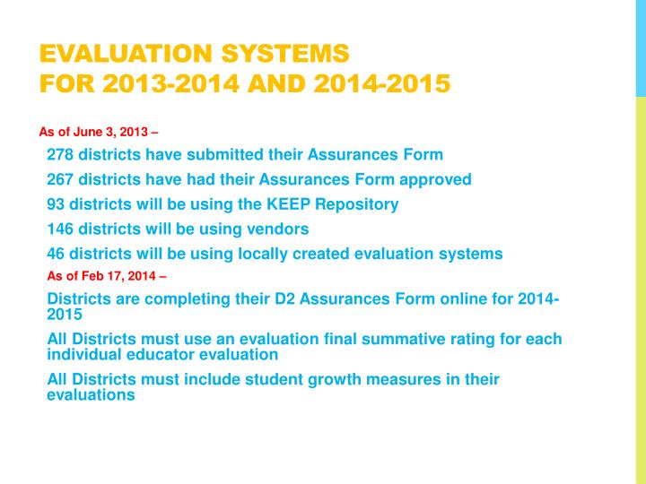 Evaluation systems for 2013 2014 and 2014 2015