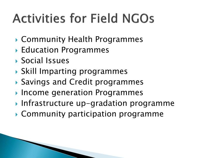 Activities for Field NGOs