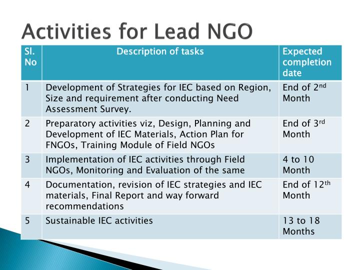 Activities for Lead NGO