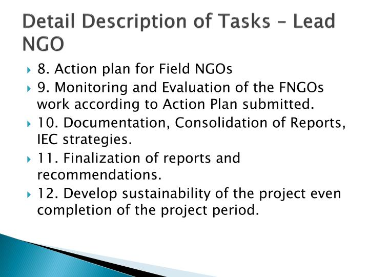 Detail Description of Tasks – Lead NGO
