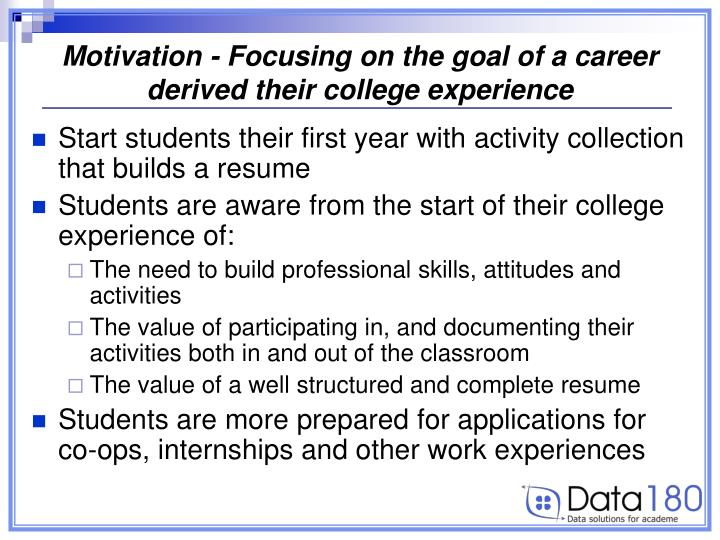 Motivation - Focusing on the goal of a career derived their college experience