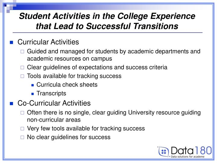 Student Activities in the College Experience that Lead to Successful Transitions