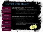 relevant work history