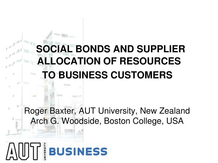 SOCIAL BONDS AND SUPPLIER ALLOCATION OF RESOURCES