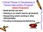 critical pieces in developing a tiered intervention program