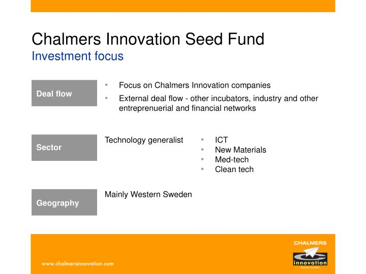 Chalmers innovation seed fund investment focus