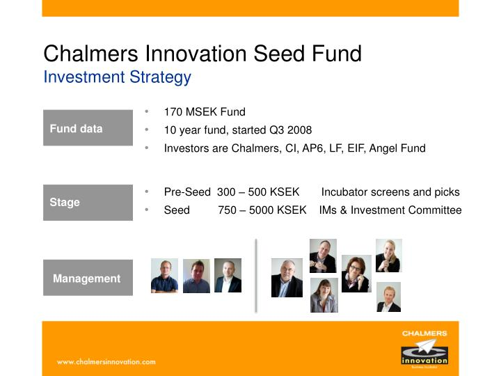 Chalmers innovation seed fund investment strategy