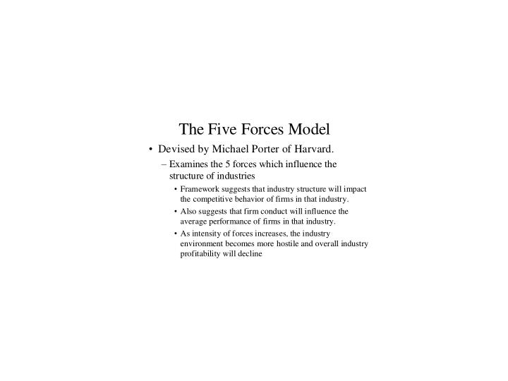 Exhibit 4 five forces model