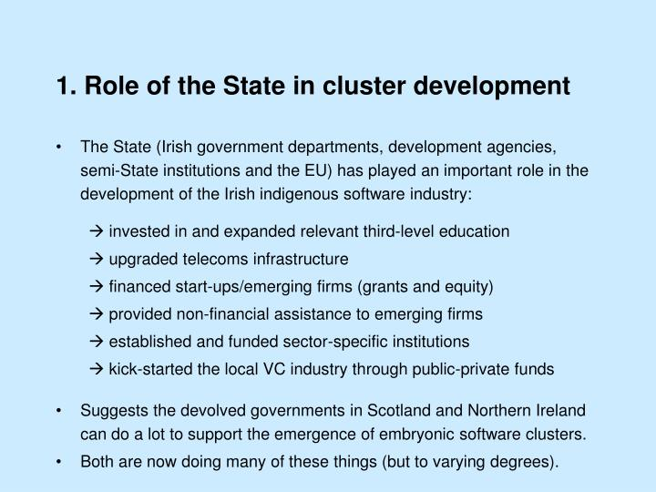 1. Role of the State in cluster development