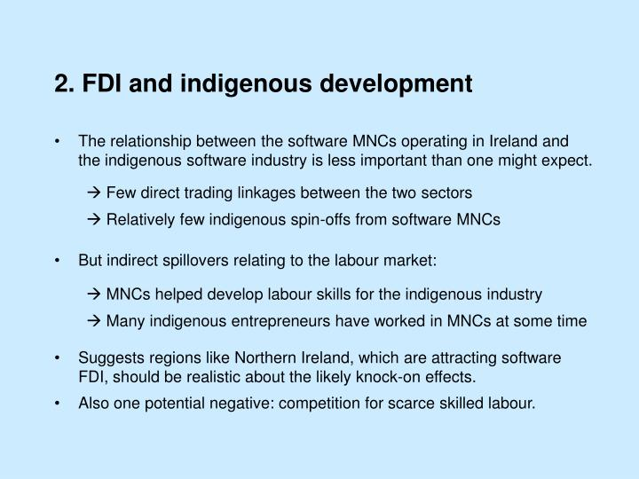 2. FDI and indigenous development