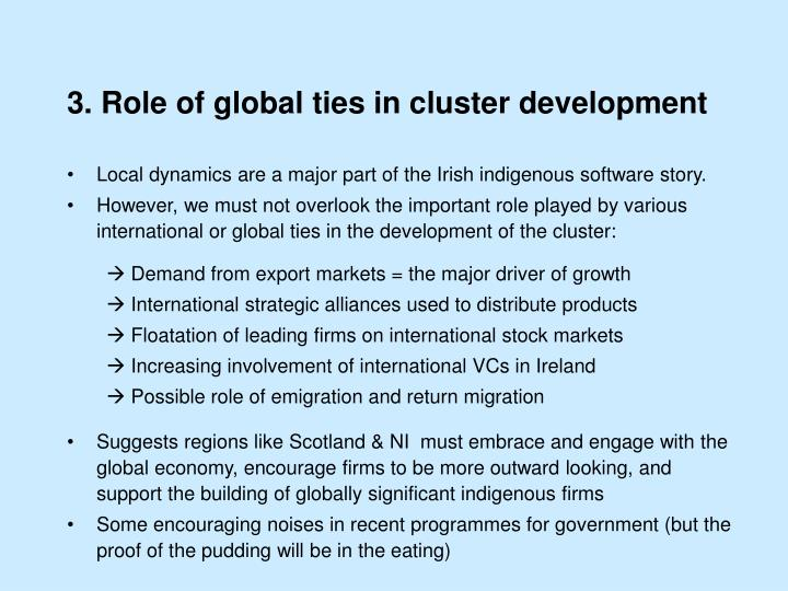 3. Role of global ties in cluster development