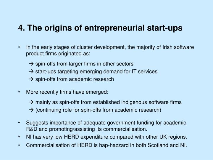 4. The origins of entrepreneurial start-ups