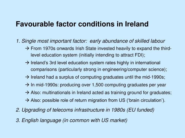 Favourable factor conditions in Ireland