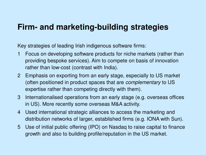 Firm- and marketing-building strategies