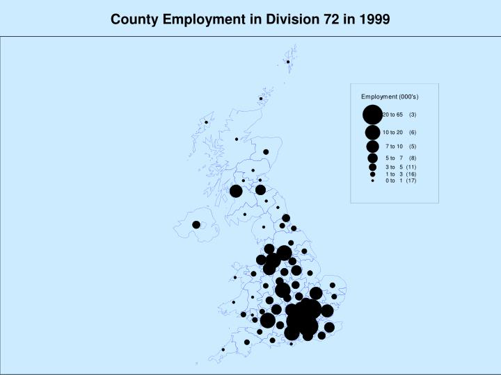 County Employment in Division 72 in 1999