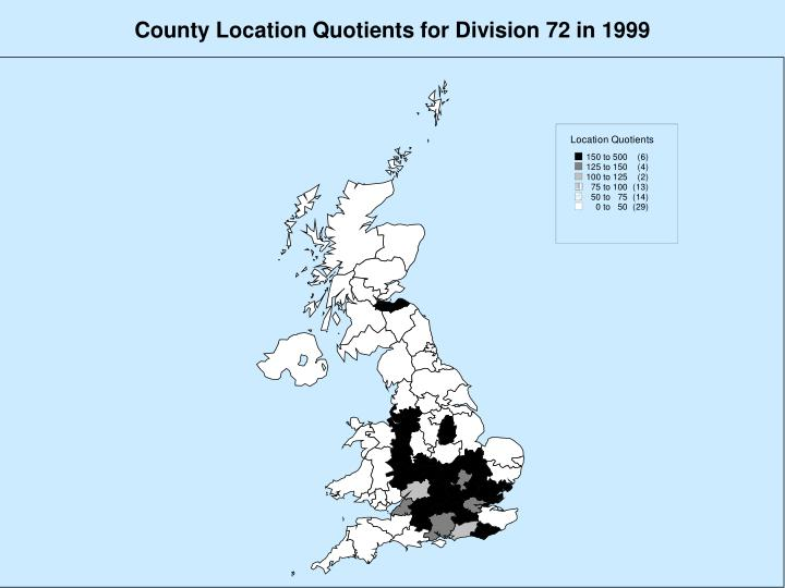 County Location Quotients for Division 72 in 1999
